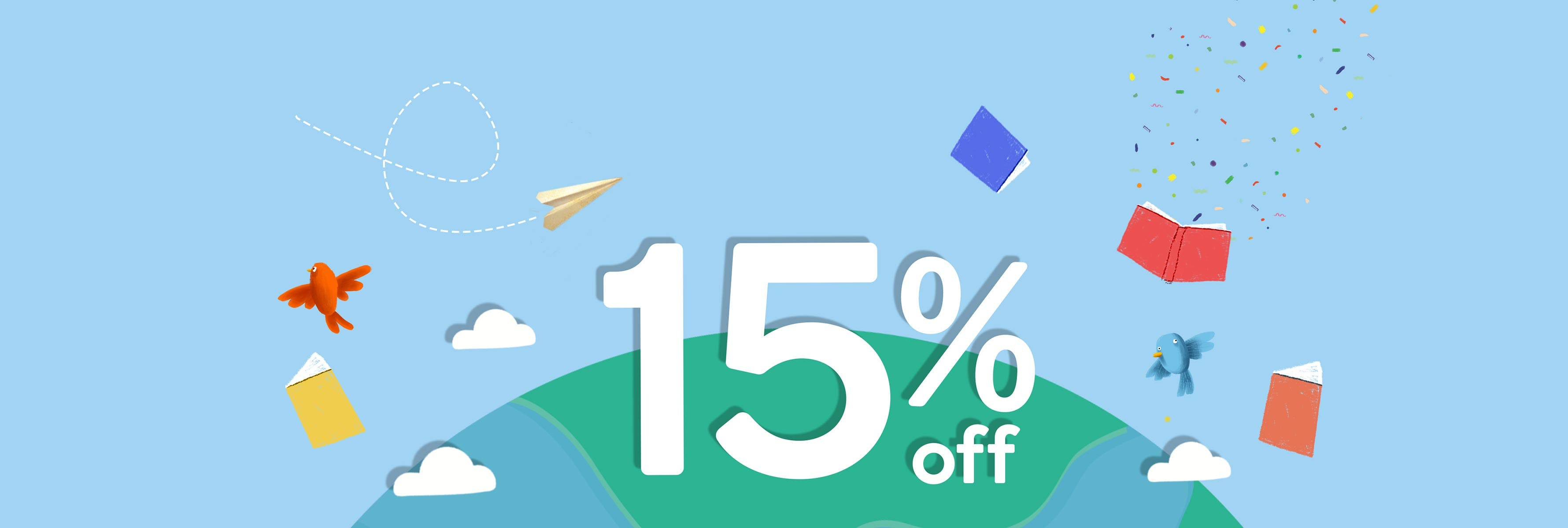 A banner with Earth crowded by flying books and a spaceship circulating our 15% off offer