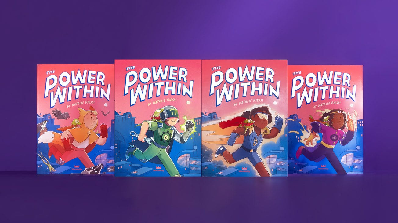 The Power Within book, four covers of four different superpowers and child adventurers