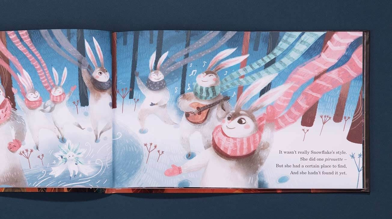 A double spread of a page in The Christmas Snowflake book whereby there are 7 rabbits surrounding the snowflake