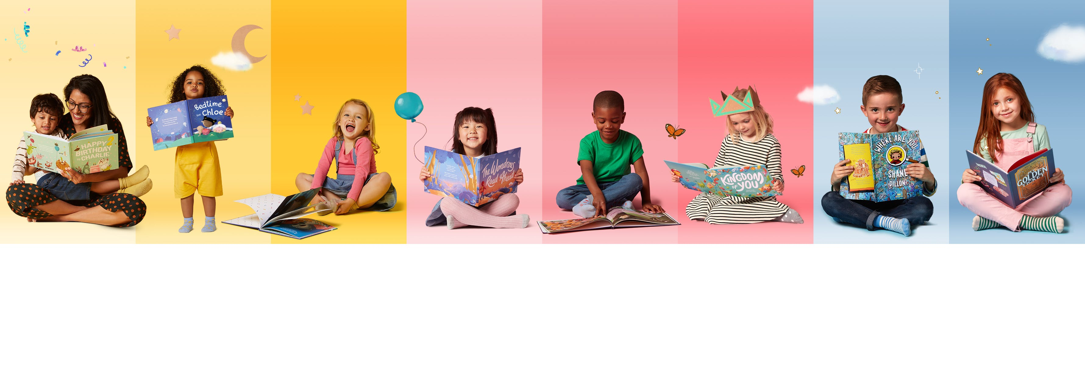 Multiple children reading Wonderbly books against a mutli-coloured background