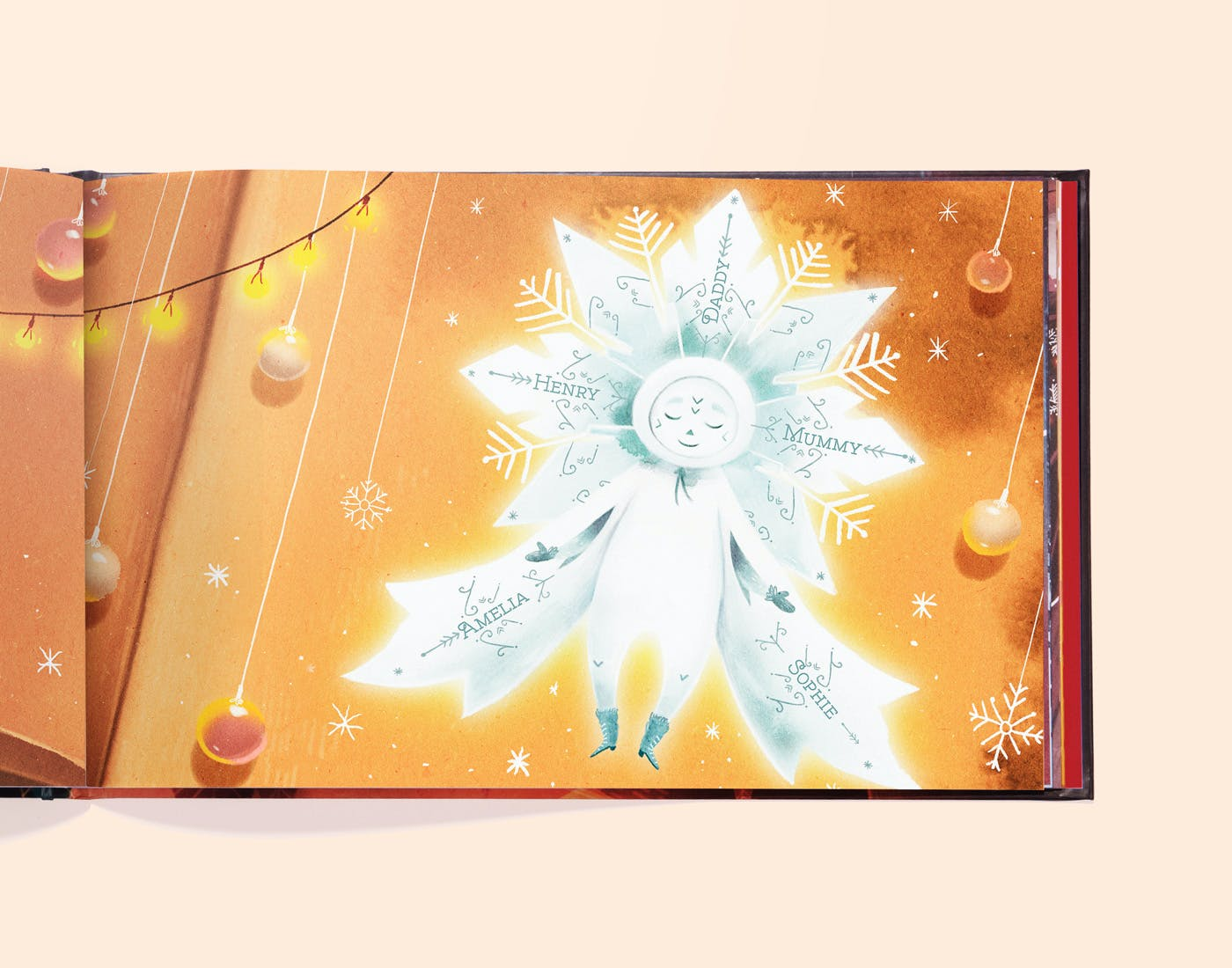 Personalised snowflake image at end of book.