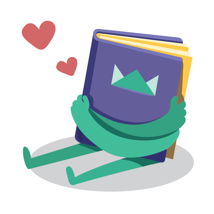 "Icon ""97% satisfaction"" - illustration of book hugging itself and hearts in the air  Value icon"