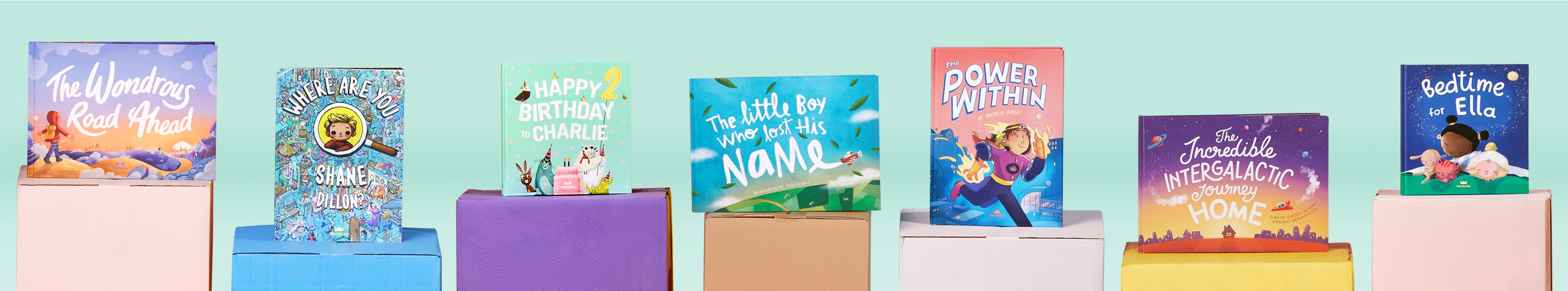 A selection of books from the Wonderbly range