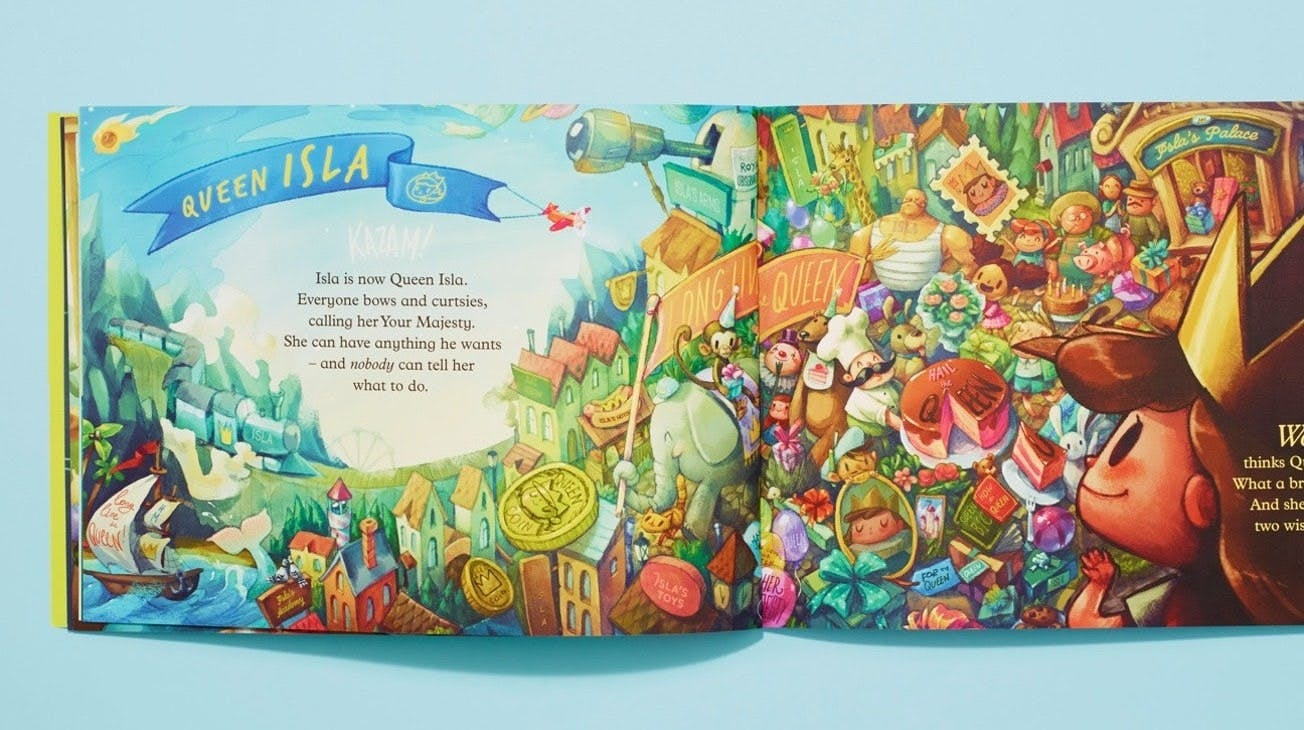A double spread book of her kingdom as she has a banner with her name printed ontop